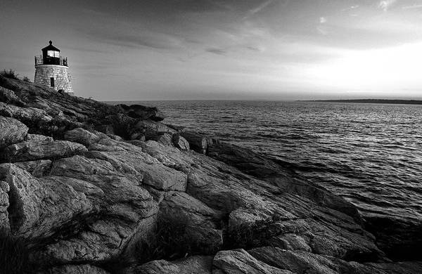 Photograph - Newport Rhode Island-castle Hill Black And White by T-S Fine Art Landscape Photography