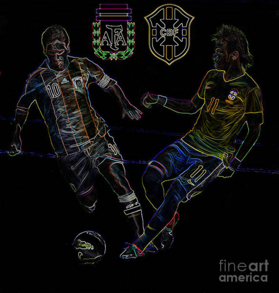 2010 Fifa World Cup Wall Art - Photograph - Neymar And Lionel Messi Clash Of The Titans Neon by Lee Dos Santos