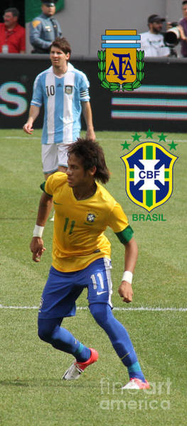 2010 Fifa World Cup Wall Art - Photograph - Neymar And Lionel Messi National Logos by Lee Dos Santos