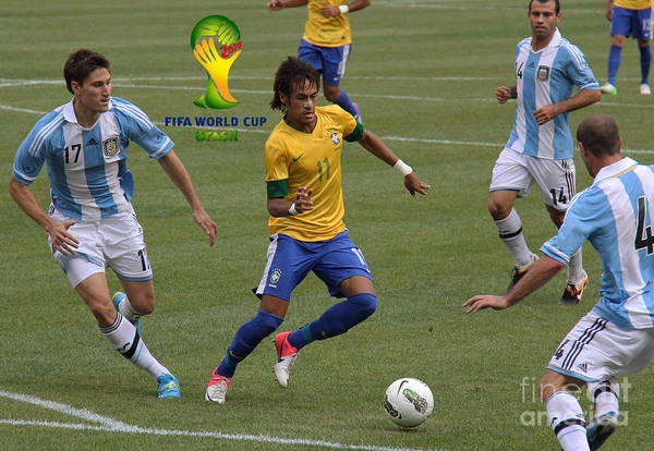 Wall Art - Photograph - Neymar Doing His Thing Fifa Logo by Lee Dos Santos