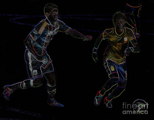 2010 Fifa World Cup Wall Art - Photograph - Neymar Doing His Thing Neon by Lee Dos Santos