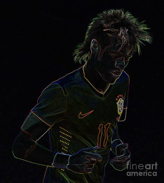 2010 Fifa World Cup Wall Art - Photograph - Neymar Neon by Lee Dos Santos