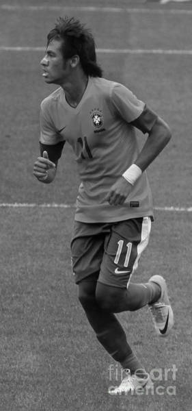 2010 Fifa World Cup Wall Art - Photograph - Neymar Running Black And White by Lee Dos Santos