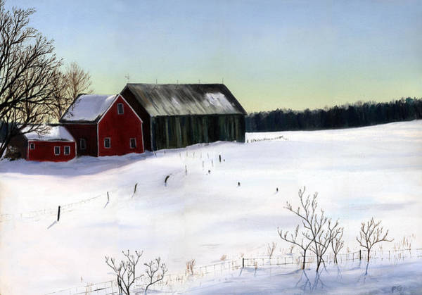 Barn Snow Painting - N.h. Barn Winter by Paul Gardner