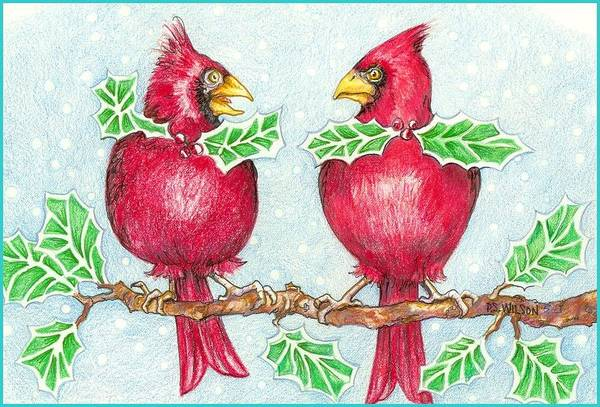Red Cardinal Drawing - Nice Tie by Peggy Wilson