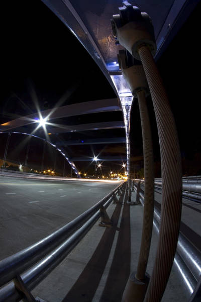 Photograph - Night Fisheye Bridge Scene by Sven Brogren