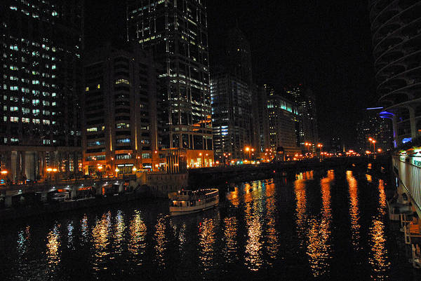 Photograph - Night Lights On The Chicago River by Lynn Bauer