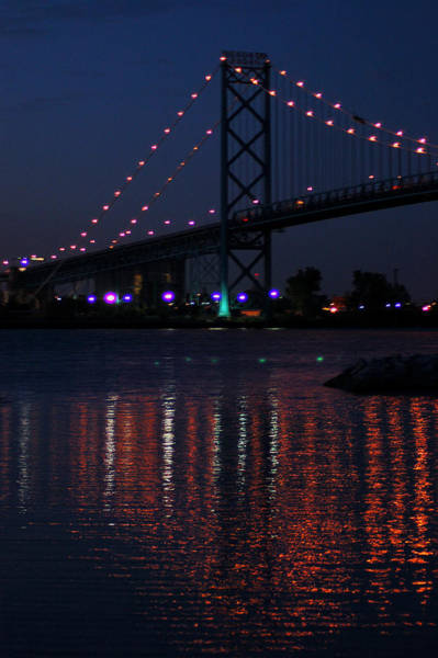 Photograph - Night Reflections-detroit River by Wade Clark
