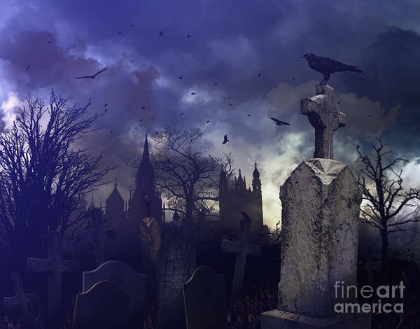Photograph - Night Scene In A Spooky Graveyard by Sandra Cunningham