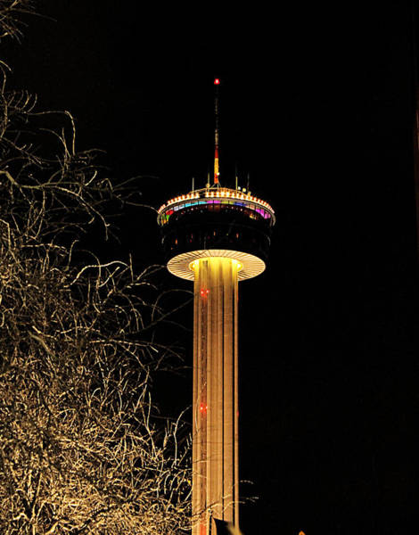 Photograph - Night Time At The Tower Of The Americas by Sarah Broadmeadow-Thomas