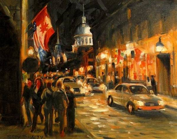 Quebec Flag Painting - Nights Summer Old Montreal by Terry Tomaltry
