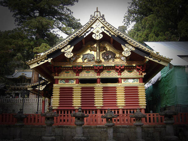 Wall Art - Photograph - Nikko Architecture With Gold Roof by Naxart Studio