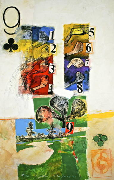 Painting - Nine Of Clubs 39-52 by Cliff Spohn