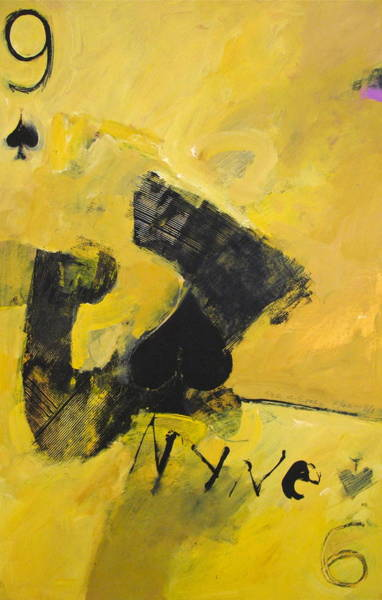 Transfer Mixed Media - Nine Of Spades 8-52  2nd Series by Cliff Spohn