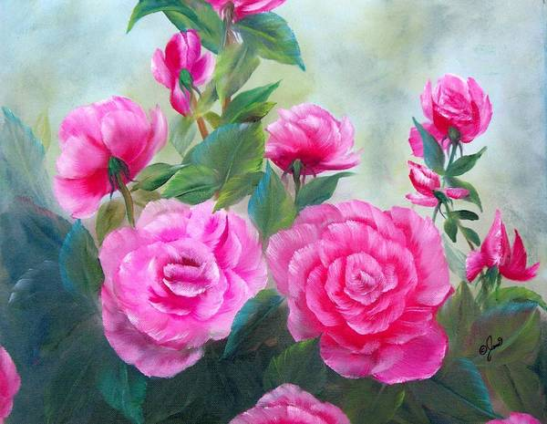 Painting - Nine Pink Roses by Joni McPherson