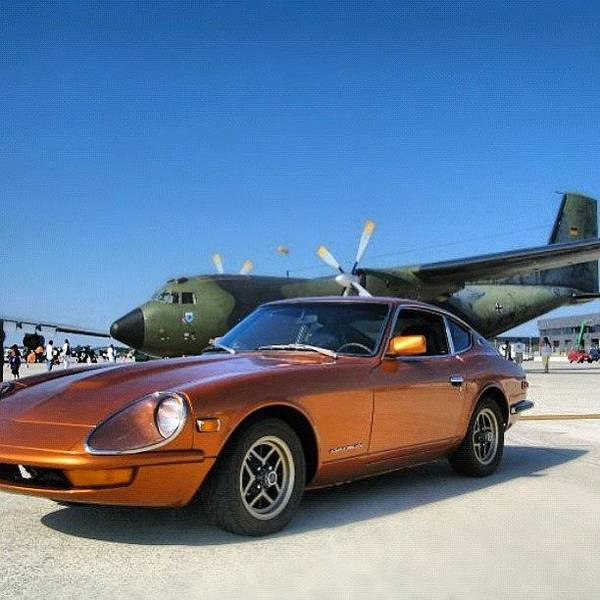 Military Photograph - #nissan 240z #datsun #german Transall by Simon Prickett