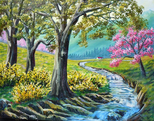 Forsythia Painting - Nixon's Beginning Of A New Day by Lee Nixon