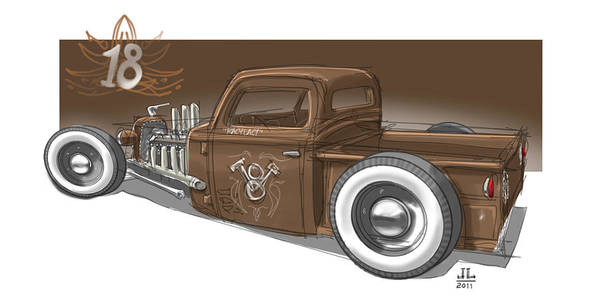 Hot Rod Drawing - No.18 by Jeremy Lacy