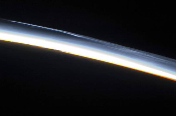 Mesosphere Photograph - Noctilucent Clouds, Iss Image by Nasa