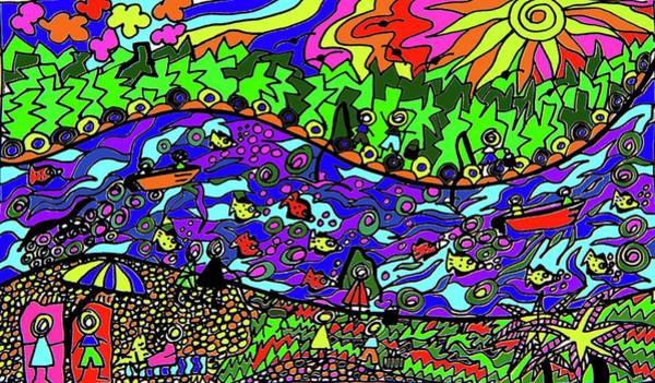 Wall Art - Drawing - Noosaville Shores by Karen Elzinga