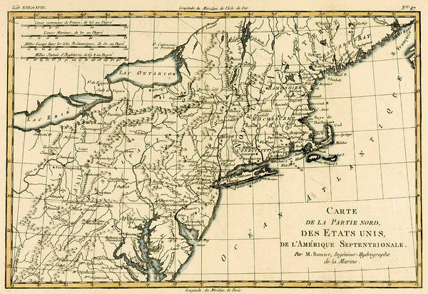 Mapping Drawing - Northeast Coast Of America by Guillaume Raynal