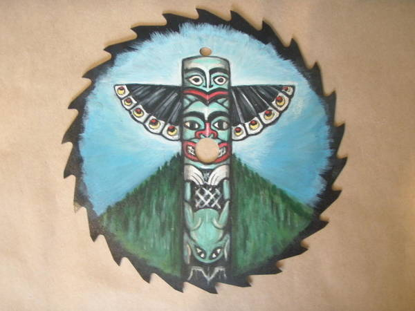 Blades Mixed Media - Northwest Totem Pole On Sawblade by Linda Nielsen