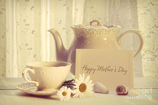 Wall Art - Photograph - Note Card With Teapot And Cup For Mother's Day by Sandra Cunningham