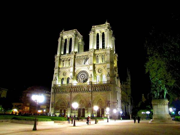 Photograph - Notre Dame At Night by Keith Stokes