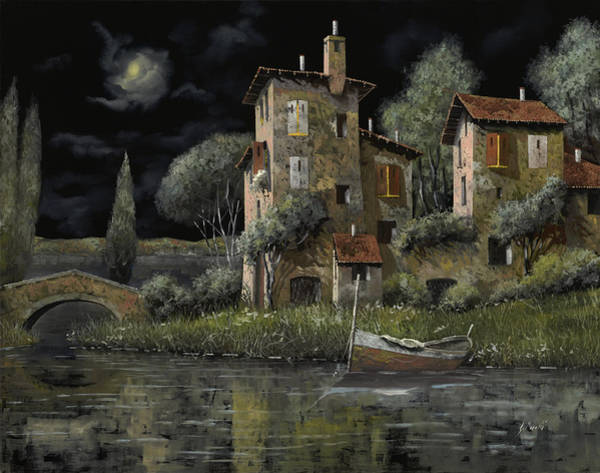 Riverscape Wall Art - Painting - Notte Nera by Guido Borelli