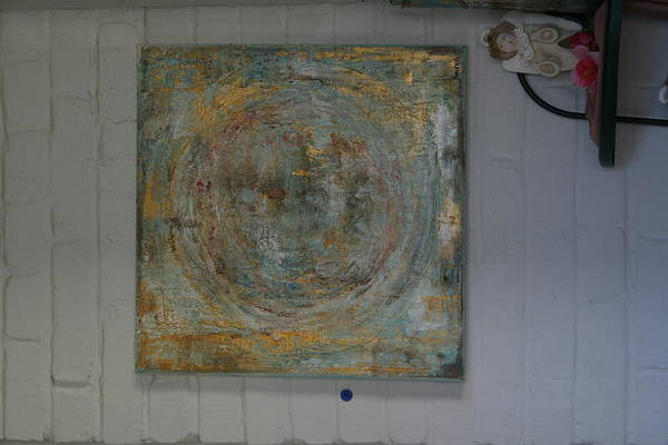 Eclipse Mixed Media - Nouvelle Lune Bleu by Tracey Brockhoeft Farrell