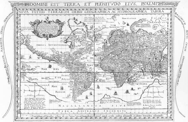 Historic Drawing - Nova Totius Terrarum Orbis Geographica Ac Hydrographica Tabula by Dutch School