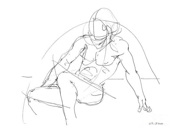 Nude-male-drawings-13 Art Print