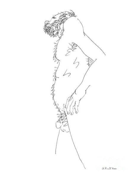 Drawing - Nude Male Drawings 6 by Gordon Punt
