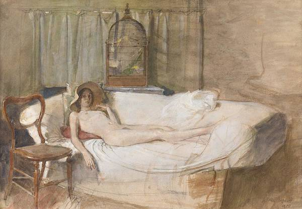 Erotica Drawing - Nude On A Sofa by John Ward