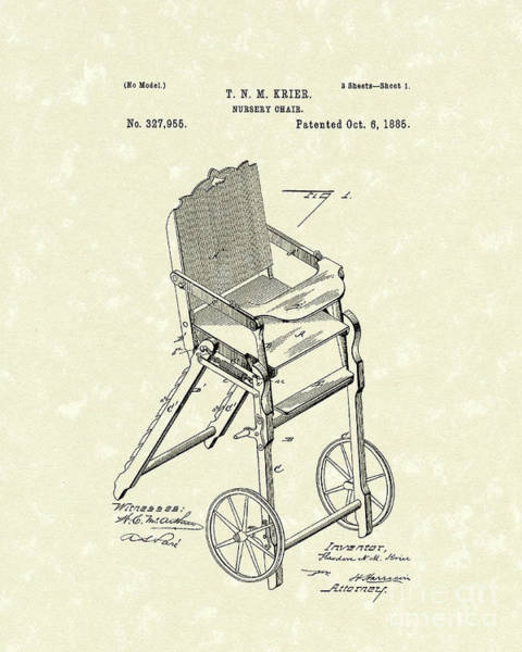 1885 Wall Art - Drawing - Nursery Chair 1885 Patent Art by Prior Art Design