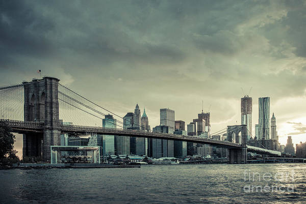 Photograph - Nyc Skyline In The Sunset V2 by Hannes Cmarits