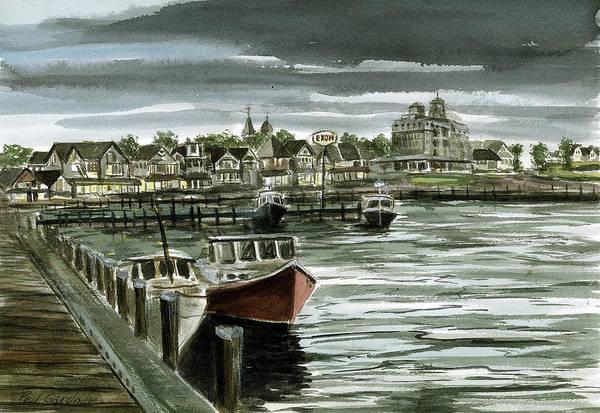 Oak Harbor Painting - Oak Bluffs Harbor Evening by Paul Gardner