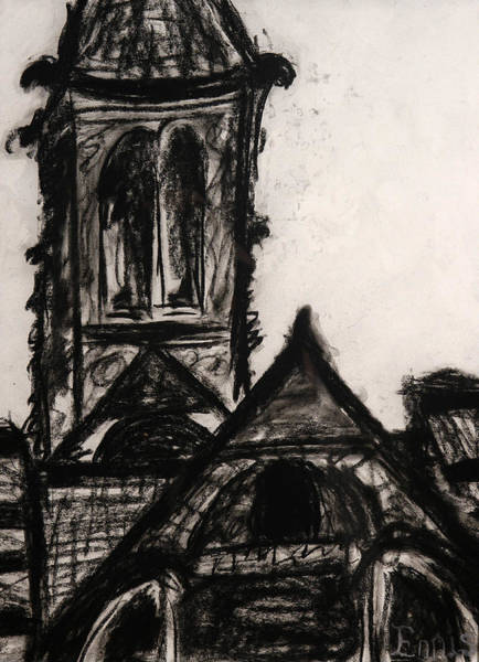 Drawing - Oakwood Church Front by Christophe Ennis