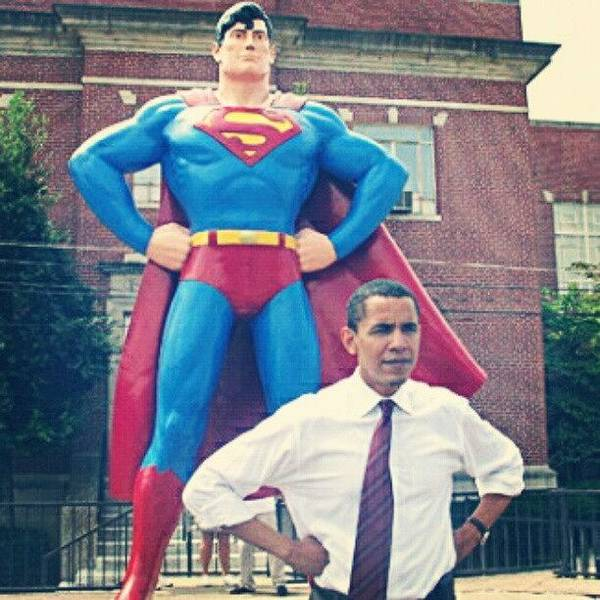Political Wall Art - Photograph - #obama And His #superman #alter-ego by S Breil