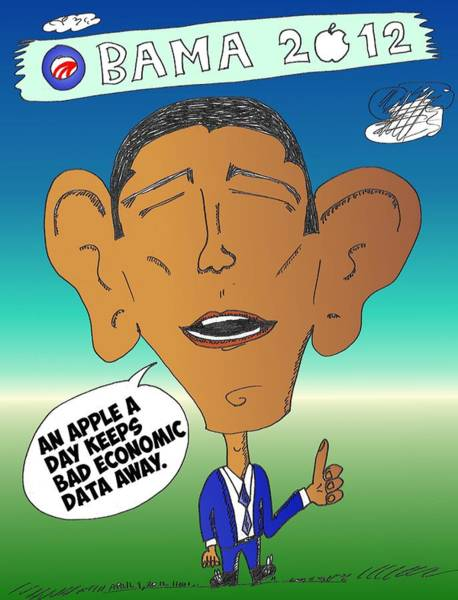 Options Drawing - Obama Apple Economy by OptionsClick BlogArt