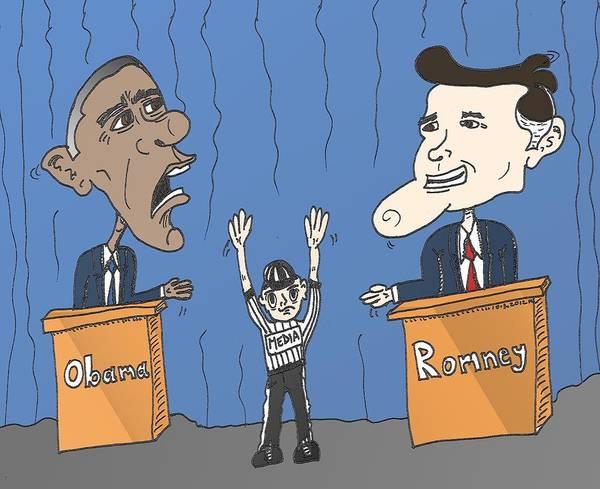 Ant Mixed Media - Obama Et Romney Debat Anime by OptionsClick BlogArt