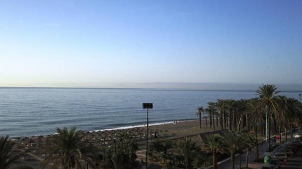 Photograph - Ocean View And Palm Trees At Costa Del Sol Beach Spain by John Shiron