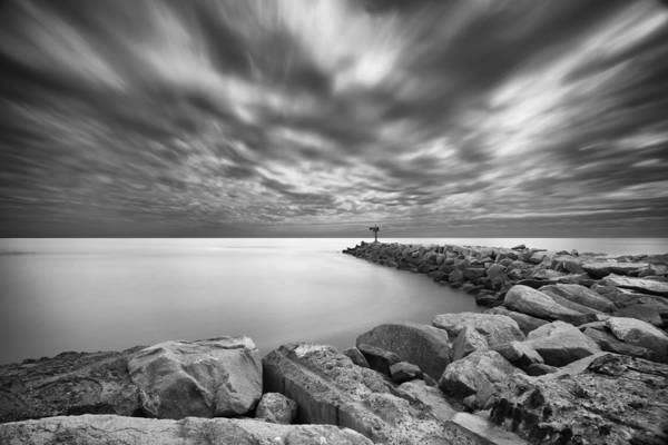 Black Cloud Photograph - Oceanside Harbor Jetty 2 by Larry Marshall