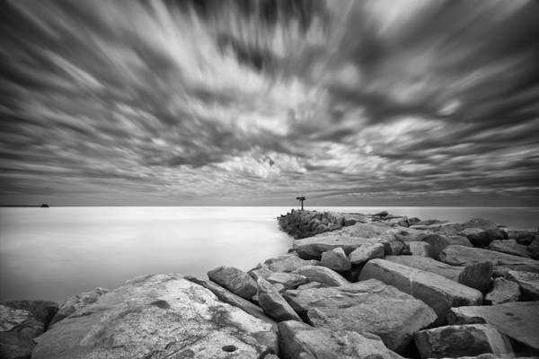 Black Cloud Photograph - Oceanside Harbor Jetty 4 by Larry Marshall