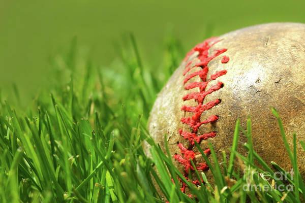 Softball Photograph - Old Baseball Glove On The Grass by Sandra Cunningham