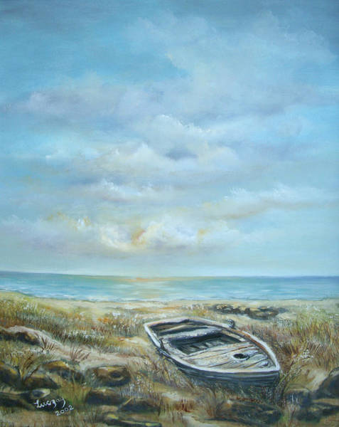 Painting - Old Boat Beached by Katalin Luczay