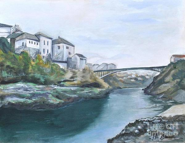 Holly Brannan Wall Art - Painting - Old Bridge In Croatia 1 by Holly Bartlett Brannan