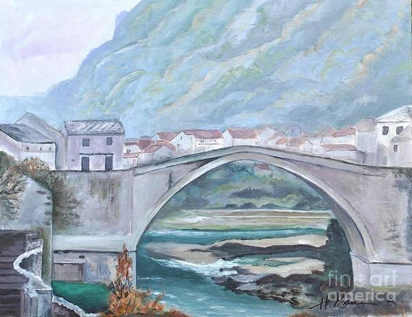 Holly Brannan Wall Art - Painting - Old Bridge In Croatia 2 by Holly Bartlett Brannan