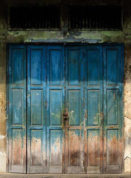 Conserved Photograph - old door in China town by Setsiri Silapasuwanchai