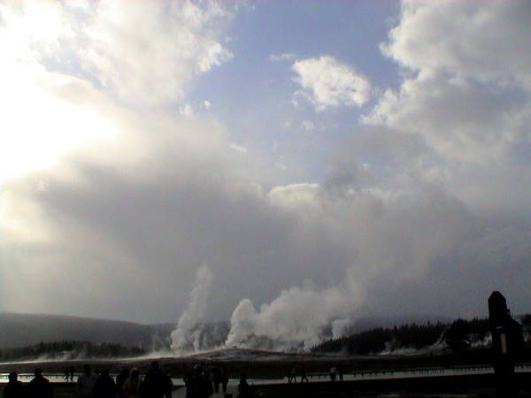 Photograph - Old Faithful Geyser Yellow Stone National Park by John Shiron
